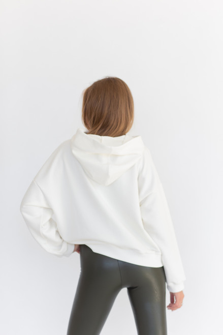 Milk hoodie with black print