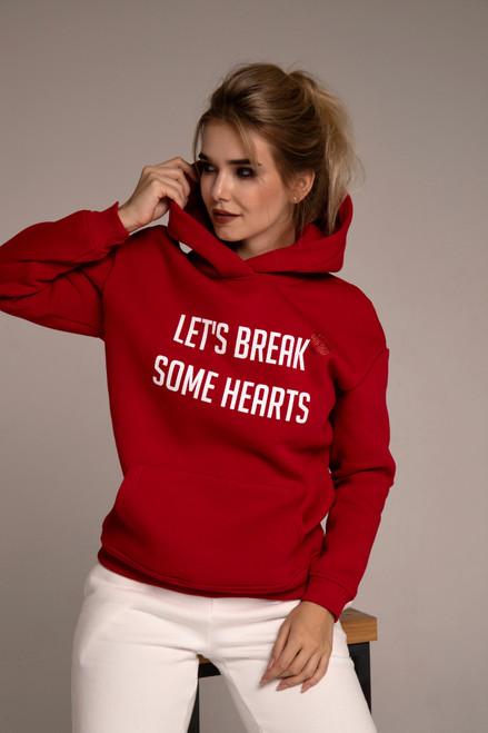 """""""Lets's break some hearts""""  flees hoodie in red"""