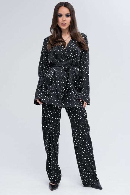 Black polka dot suit