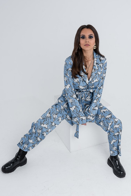 Blue suit with animal print