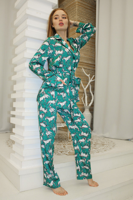 Emerald suit with animal print