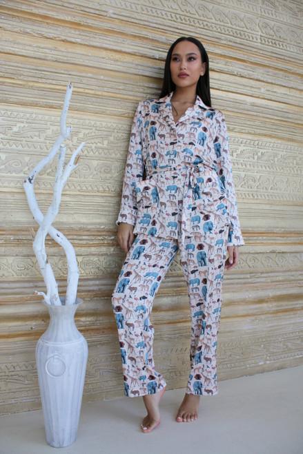 Beige suit with animal print
