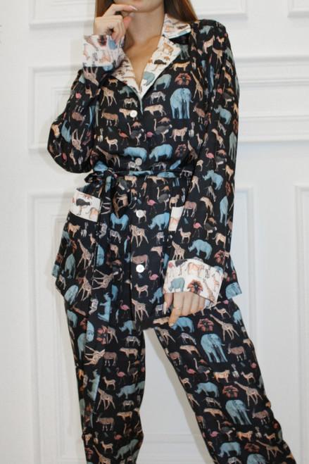 Black suit with animal print