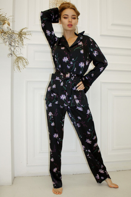 Black suit with floral print