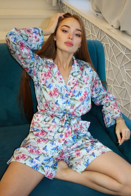 Floral blue suit with shorts