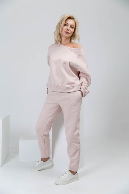 Pink flees track suit