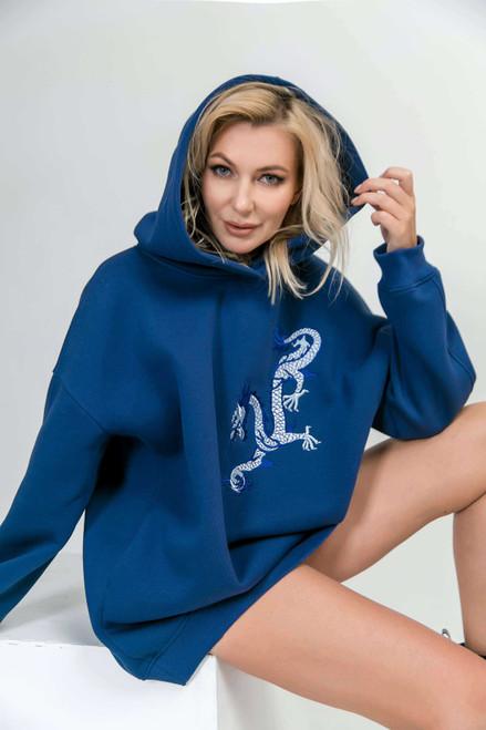 """Blue flees hoodie """"Dragon"""""""
