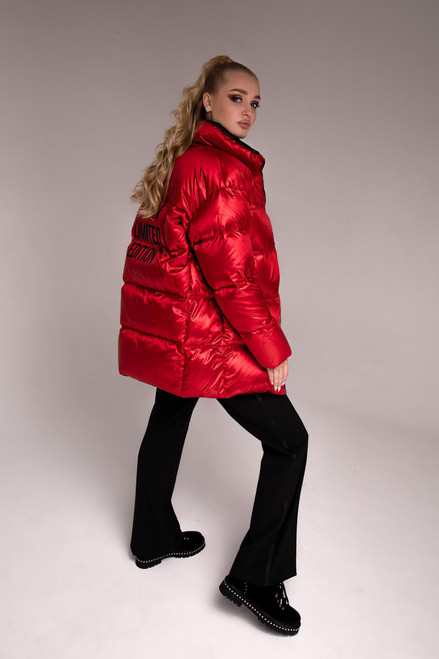 Bright red down jacket