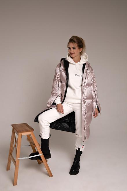 Pink long down jacket