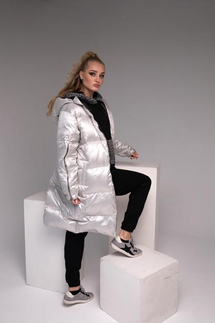 Silver long down jacket