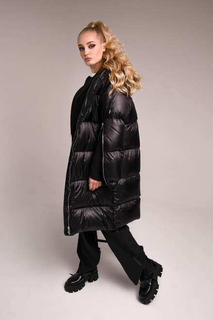 Black long down jacket