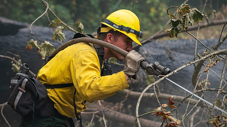 Yay mop up! Using the straight bore tip on your twin tip forestry nozzle gets into the hard-to-reach parts of a fire.