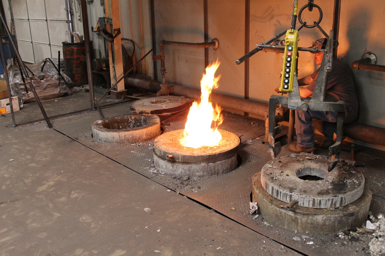 If you can't take the heat...you can't work in the foundry! This is where we pour the molten aluminum for our wye valves.