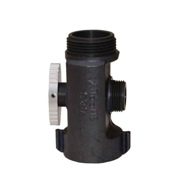 "T valve with 1 1/2"" female NST inlet, 1 1/2""male NST outlet and 1"" male NPSH outlet"