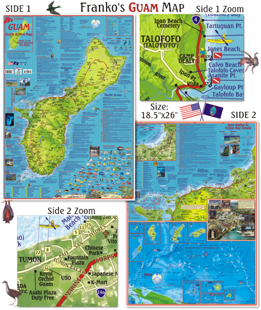 Guam And Hawaii Map.Guide Map Of Guam U S A Folded Mail Order Hawaii