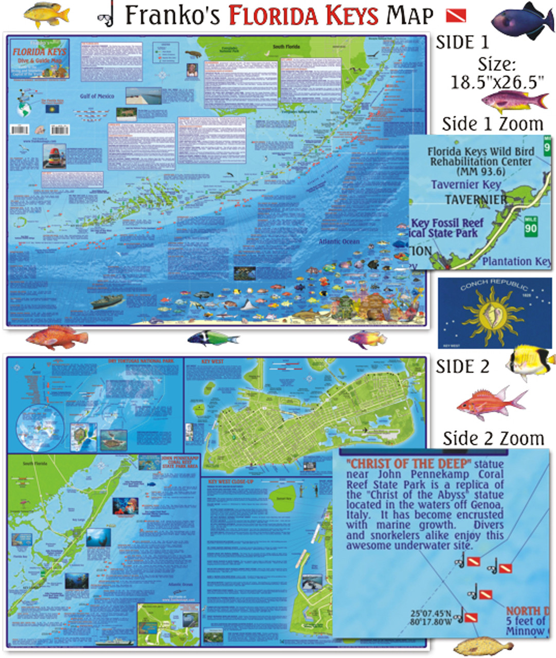 Florida Ocean Map.Florida Keys Guide Dive Map Folded