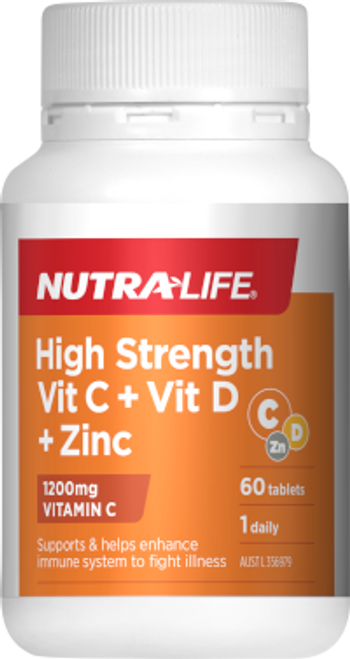 NutraLife High Strength Vit C + Vit D + Zinc RRP $25.99