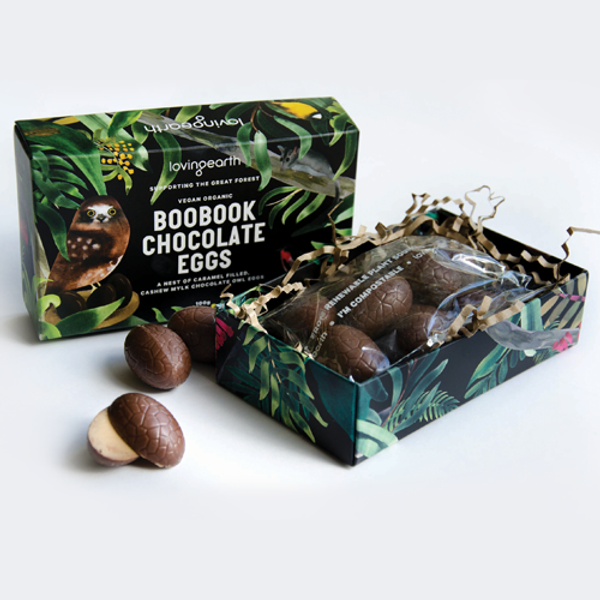 Boobook Chocolate Eggs Cashew mylk chocolate eggs filled with a soft caramel truffle type centre, they are subtle in their flavours - our personal fave here at NHW!!  Loving Earth is a truly eco brand, with the environment foremost in their minds. Printed with vegetable inks on board with 97% post consumer recycled fiber. The inner wrapper is home compostable & made using sustainably managed plant sources. Boobook Chocolate eggs support the Great Forest National Park campaign, a campaign to declare the Mountain Ash forests to the east of Melbourne CBD, a National Park.