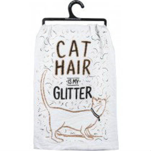 """Primitives By Kathy """"Cat Hair is My Glitter"""" Dish Towel"""