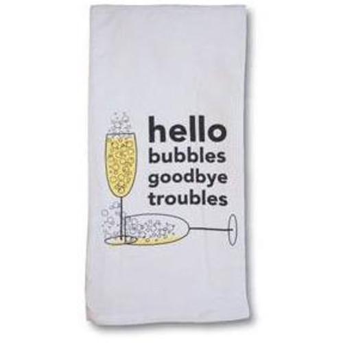 "Cork Pops ""Hello Bubbles, Goodbye Troubles"" Bar/Dish Towels"