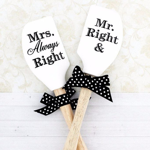 """Brownlow """"Mr. Right, Mrs. Always Right"""" Reversible Silicone Kitchen Buddies Spatula"""