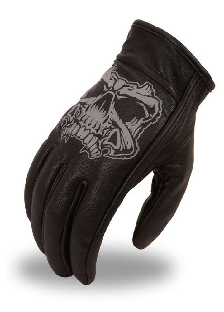 Men leather gloves reflective skull