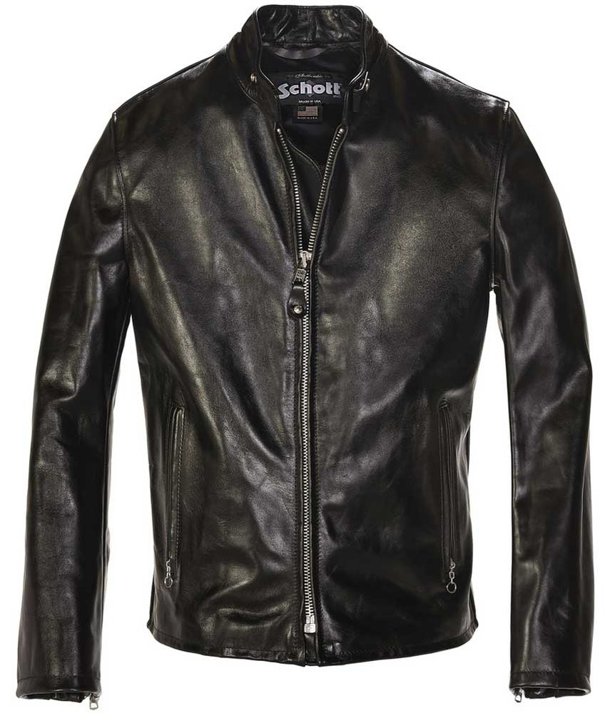 Schott NYC Mens 654 Cowhide Fitted Casual Racer Jacket