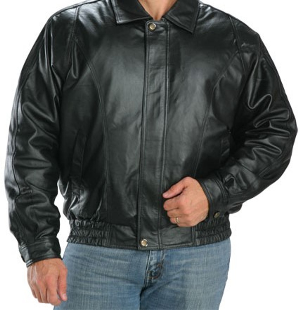Classic Mens Leather  Bomber Jacket