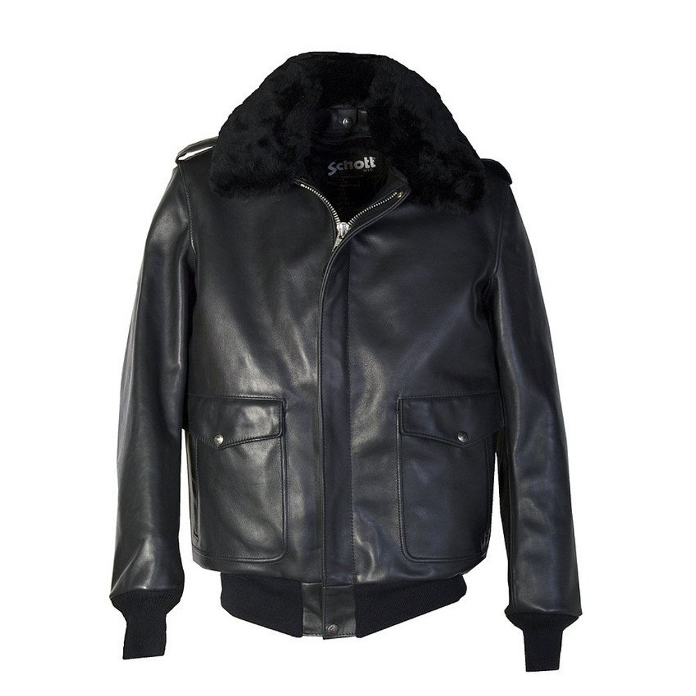 A-2 Naked Cowhide Leather Flight Jacket Black