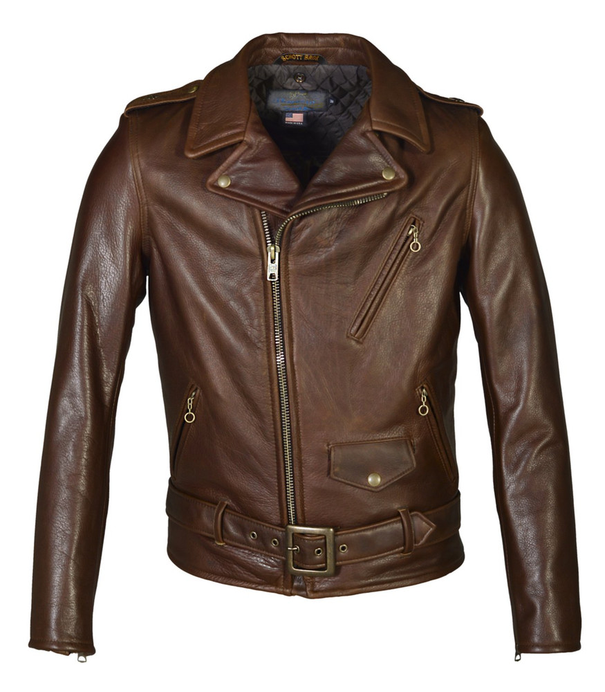 Waxy Natural Cowhide 50's Perfecto Motorcycle Leather Jacket