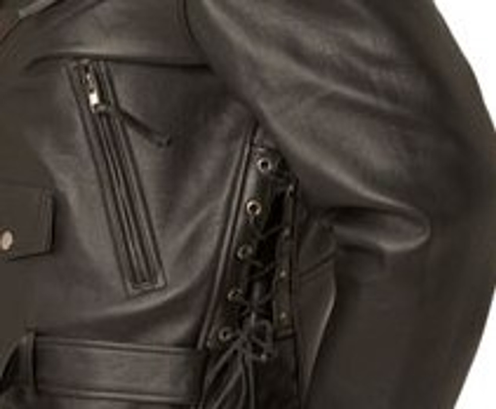 Men's Classic Side-Lace Leather Motorcycle Jacket