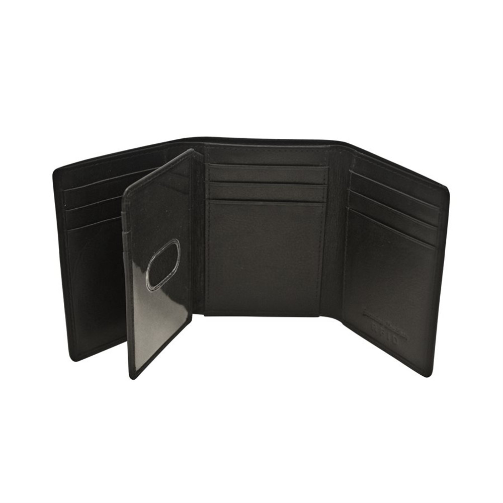 Men Leather Wallet Trifold with 9 credit card pockets