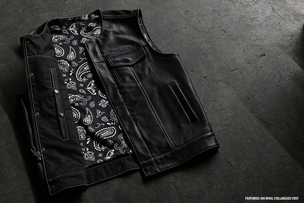 BLACK BANDANNA LINING SAMPLE  Vests are made to order. Please allow (5-7) weeks for shipping.