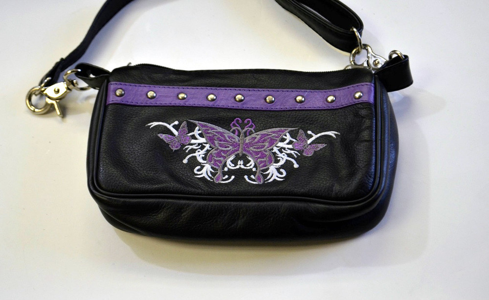 Leather Belt Bag Hip Purse Embroidered Eagle purple Silver