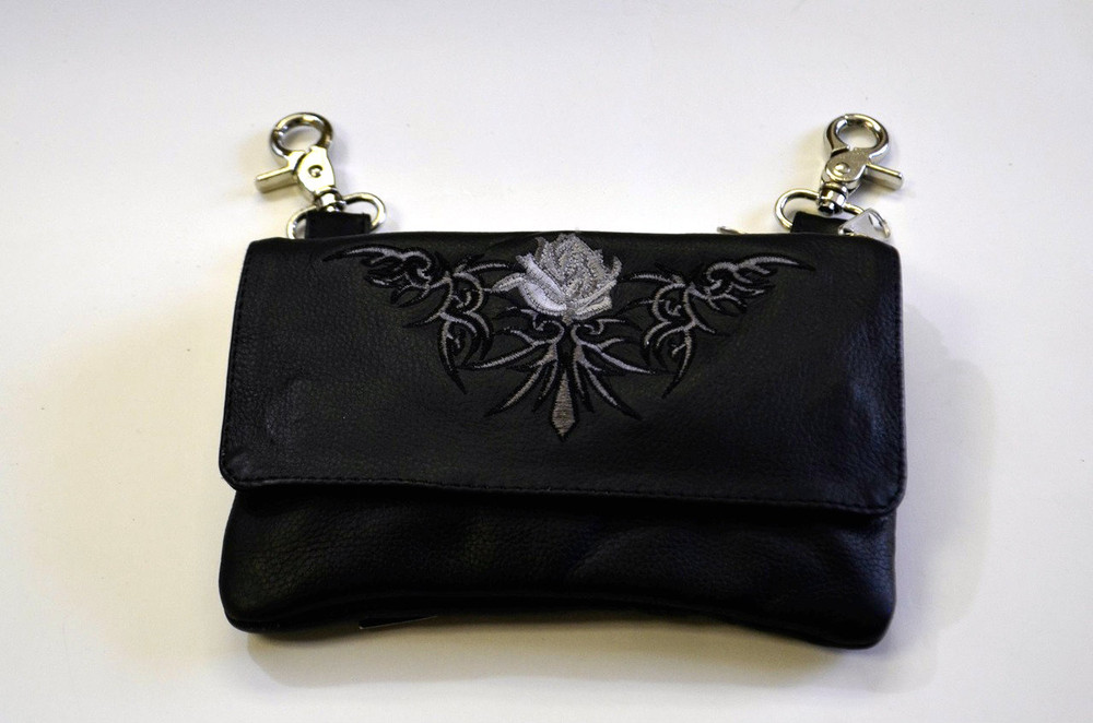 Leather Belt Bag Hip Purse Embroidered Eagle Silver  Rose