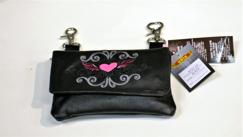 Leather Belt Bag Hip Purse Embroidered Eagle Silver Pink Heart