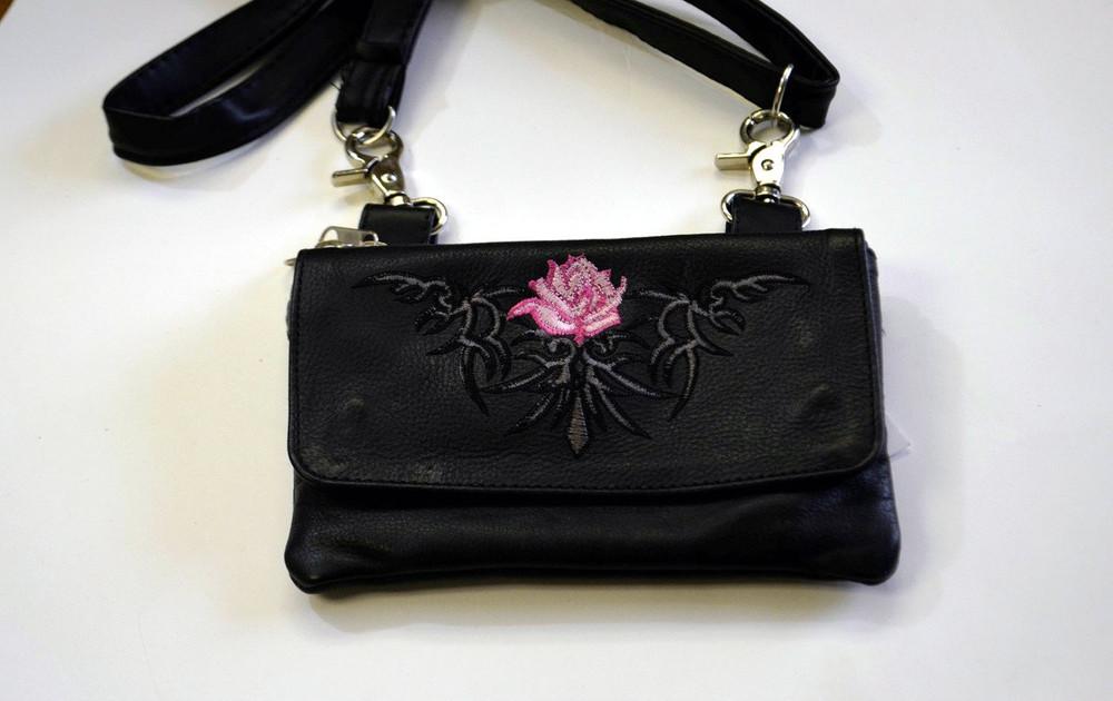 Leather Belt Bag Hip Purse Embroidered pink rose