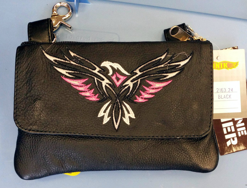 Leather Belt Bag Hip Purse Embroidered Eagle Silver Pink