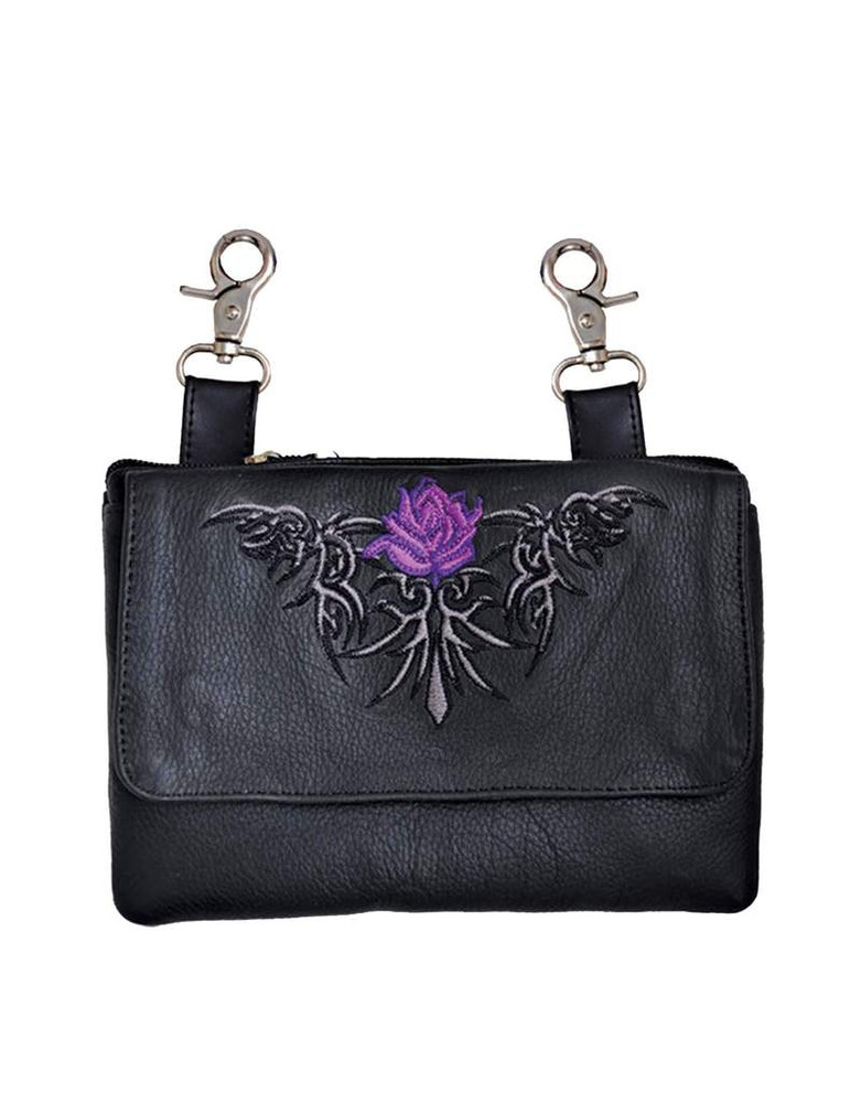 Leather Belt Bag Hip Purse Embroidered purple Rose