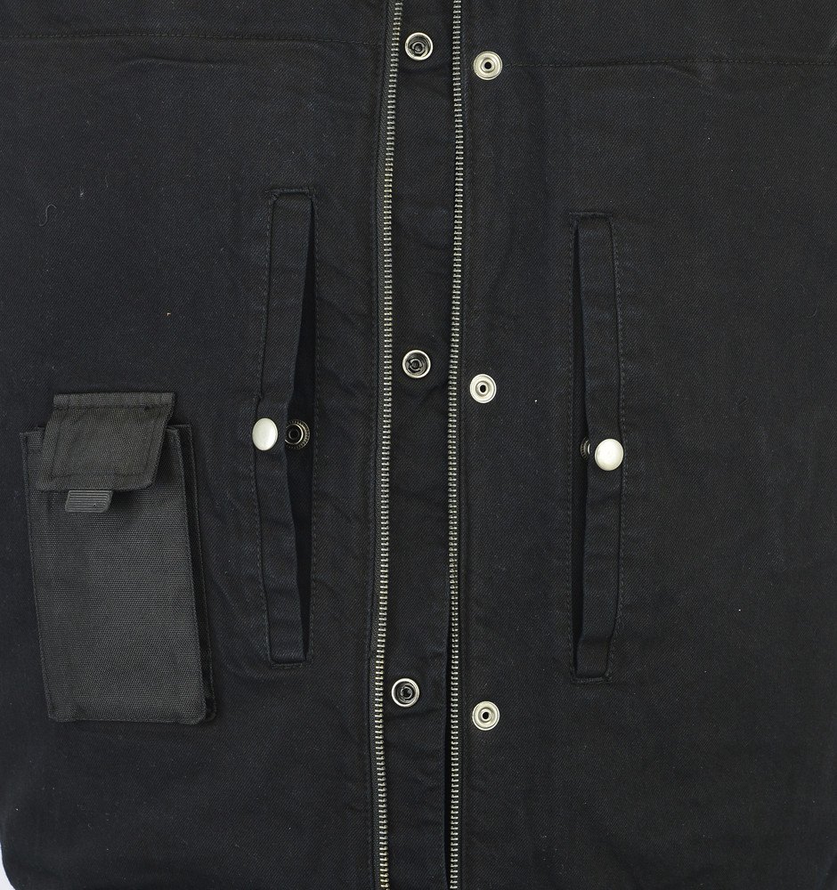 Men's Black Denim Single Vest Leather Trim Collar