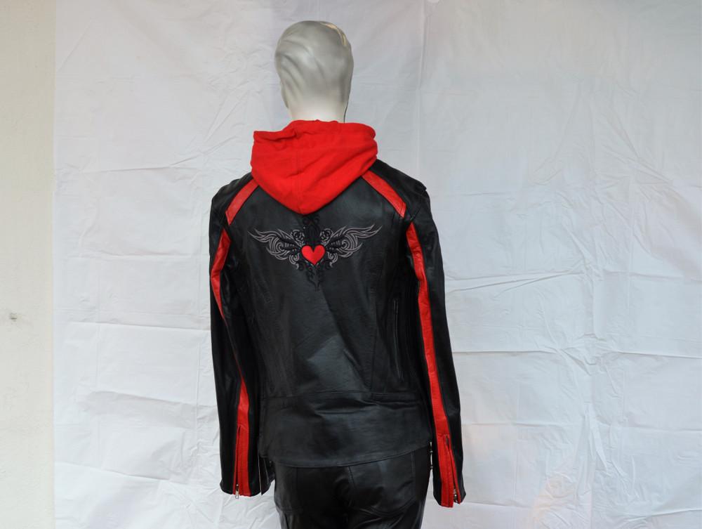 Ladies Red Heart Wings Black Leather Motorcycle Jacket