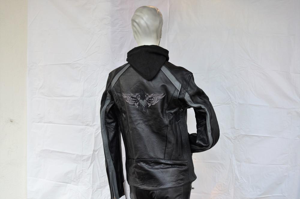 Ladies Gray Heart Wings Black Leather Motorcycle Jacket
