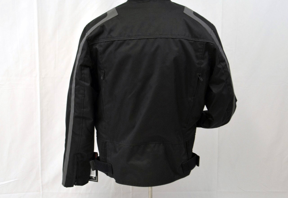 MENS TEXTILE BLACK/ GRAY MOTORCYCLE JACKET - VENTED