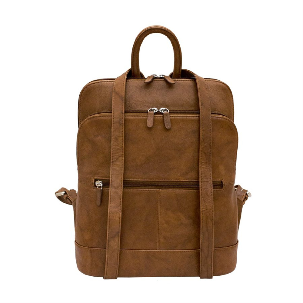 Leather backpack with adjustable strap