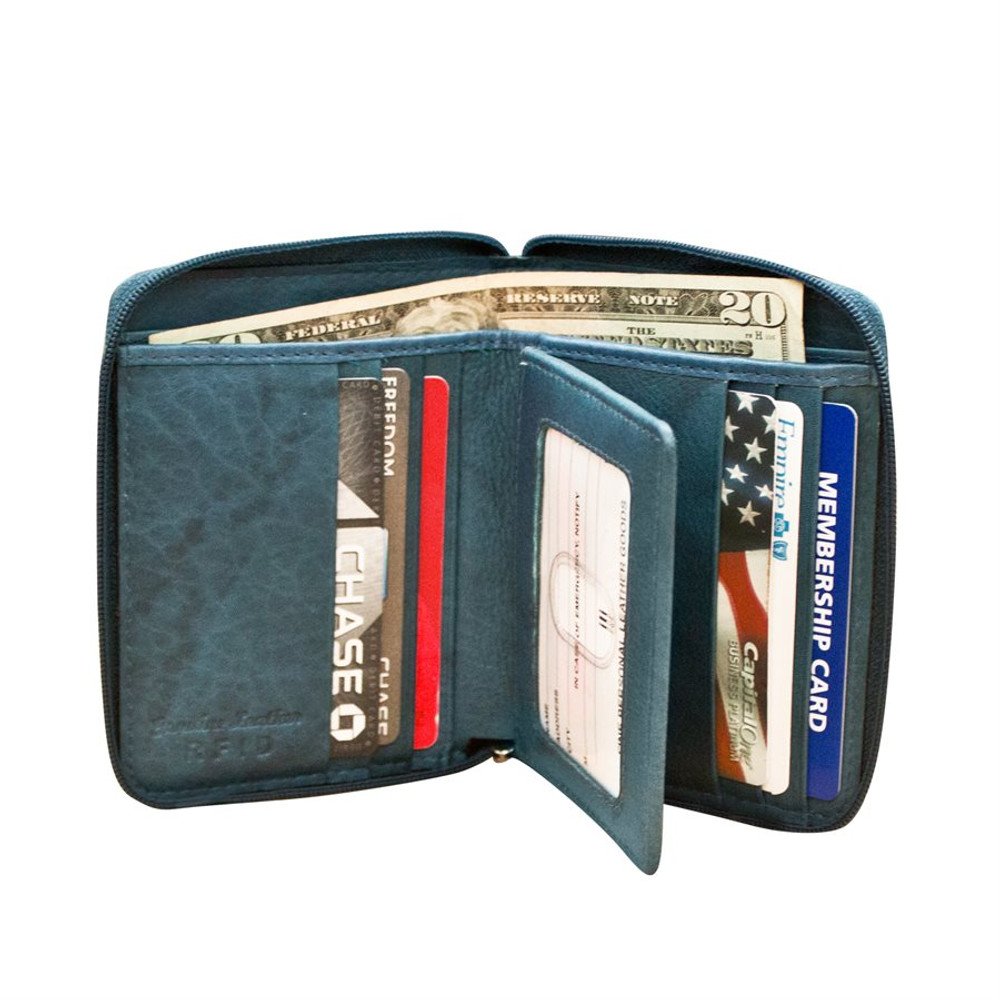 zip around wallet with RFID blocking lining. Exterior - I.D.