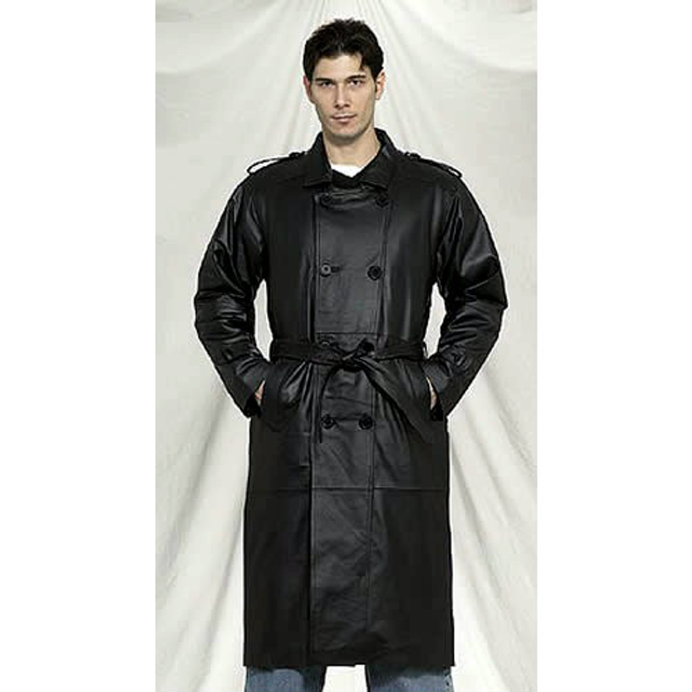 Mens Long Black  Cowhide Leather Coat With Belt