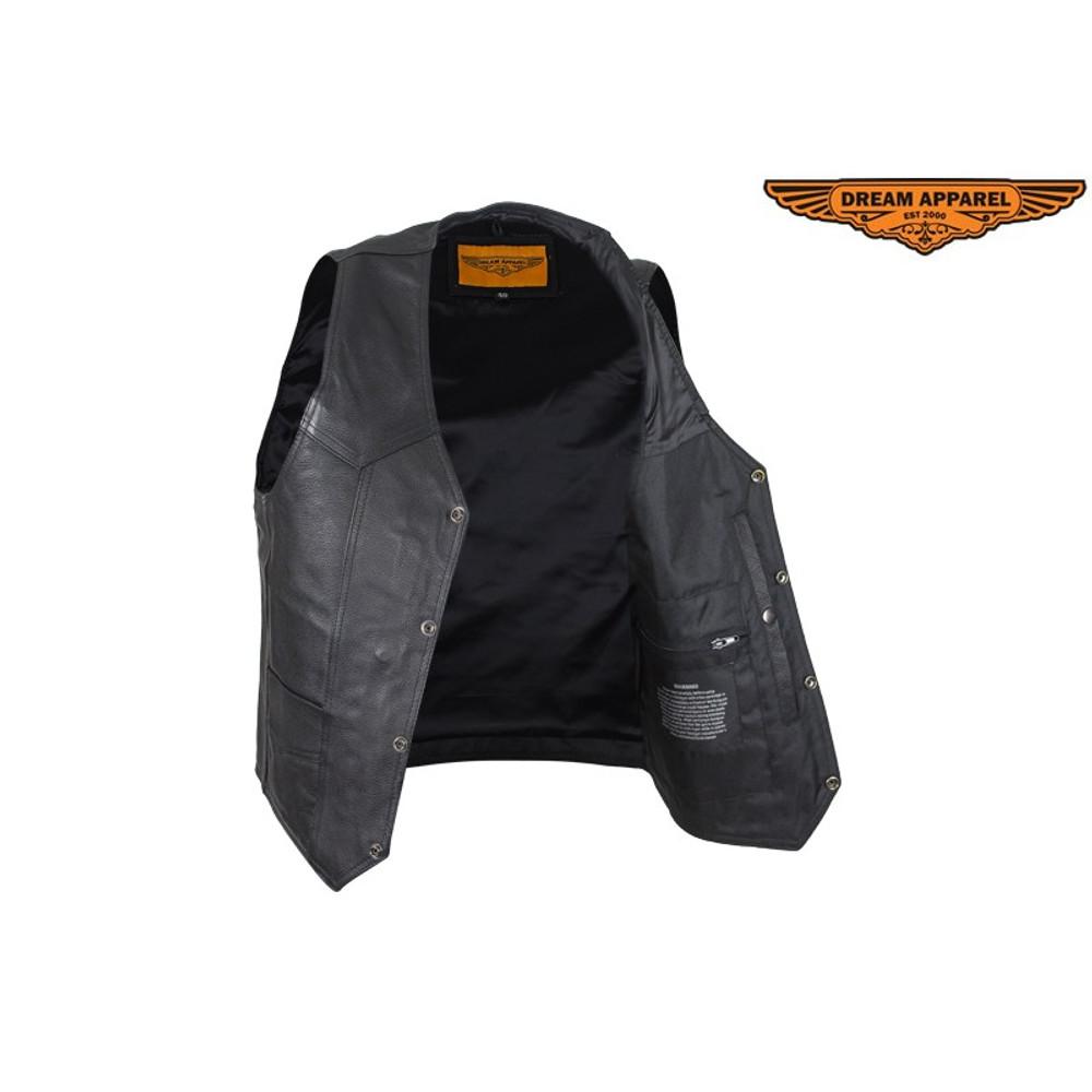 Mens Plain Black Leather Vest