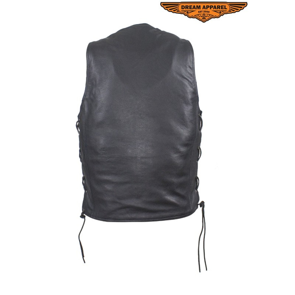 Mens Leather Vest With Concealed Carry On Both Sides