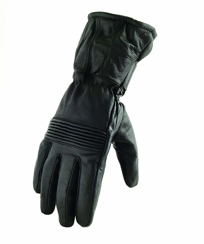 Men's cowhide gauntlet with elasticized knuckle and wrist featuring wind and waterproof liner