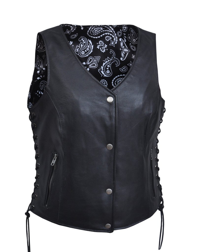 Lightweight Women leather vest with black paisley lining